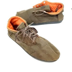 Toms Canvas boots Brown orange lace up Slip on